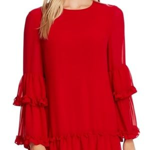 NWT CeCe Red Ruffle Chiffon Shift Dress Small